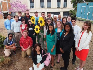 people standing beside sunflower